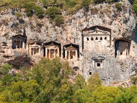 Turkish  Lycian Tombs  – Ancient Necropolis In The Mountains