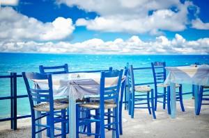 Greek tavern by the sea