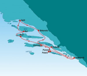 Route map - Croatia Luxury Cruise