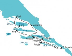 Split - Dubrovnik Tour - route