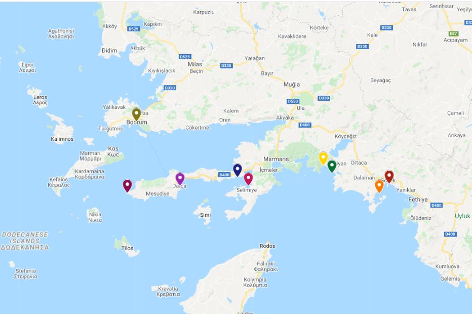 gocek- datca- bodrum map